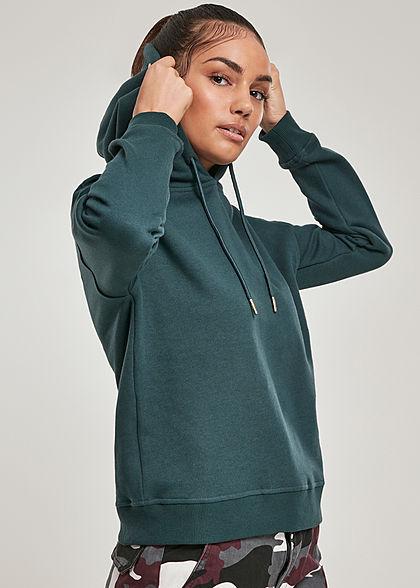 Urban Classics Damen Basic Hoodie mit Kapuze bottle grün