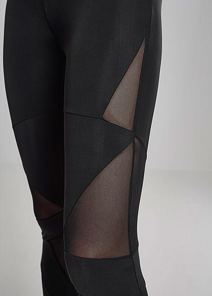 Urban Classics Damen Leggings Gummibund Mesh Details seitlich schwarz