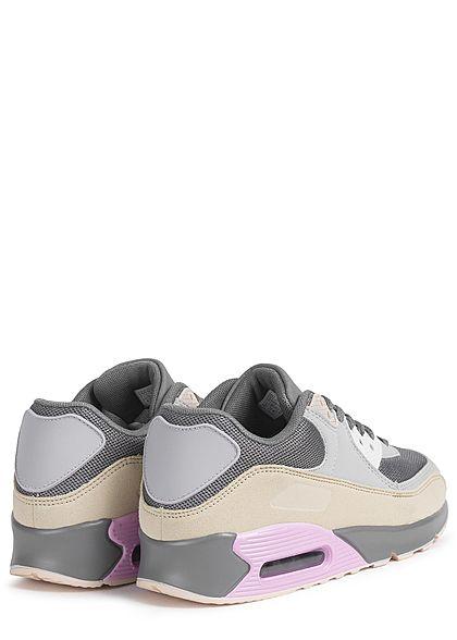 Seventyseven Lifestyle Dames Schoen Colorblock Sneaker beige grijs pink