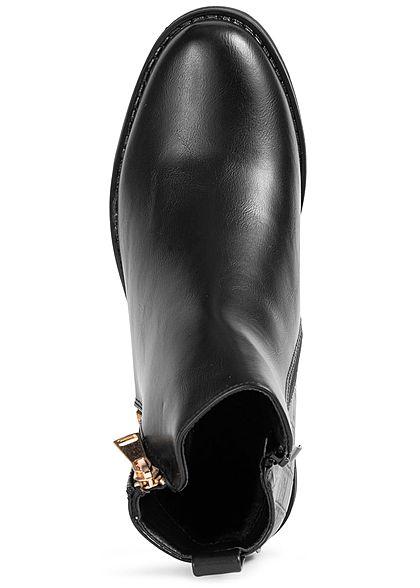 Seventyseven Lifestyle Dames Schoen Imitatieleer Enkellaarzen Slangenleer Look zwart