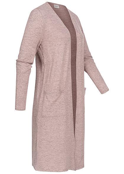 JDY by ONLY Dames Solid Longform Cardigan 2-Pockets adobe pink melange