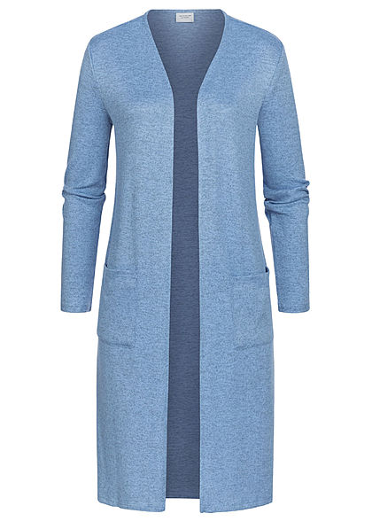 JDY by ONLY Dames Solid Longform Cardigan 2-Pockets lichen blauw