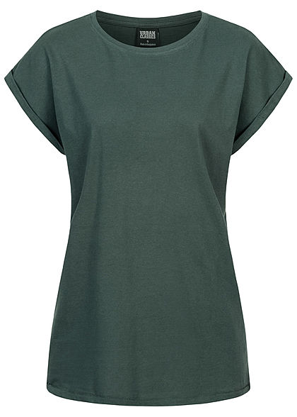 Urban Classics Dames T-Shirt met brede Schouders bottle groen - Art.-Nr.: 21010098