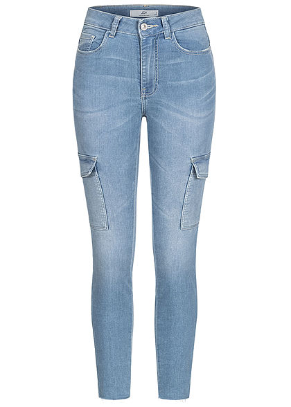 JDY by ONLY Dames Cargo Ankle Skinny Jeans Broek High-Waisted 6-pockets lichtblauw denim
