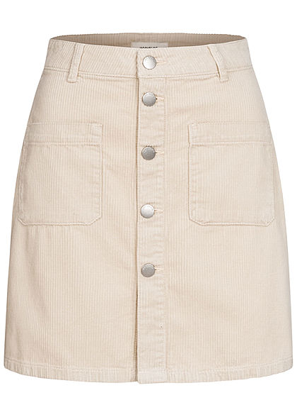 JDY by ONLY Dames Mini Koordrok met Knoopsluiting 2-Pockets silver birch licht beige - Art.-Nr.: 21010162