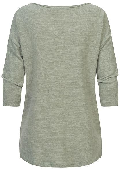 Fresh Made Dames 3/4 Longform Shirt Longsleeve vintage groen melange