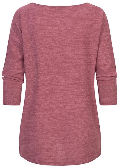 Fresh Made Dames 3/4 Longform Shirt Longsleeve vintage berry rood melange