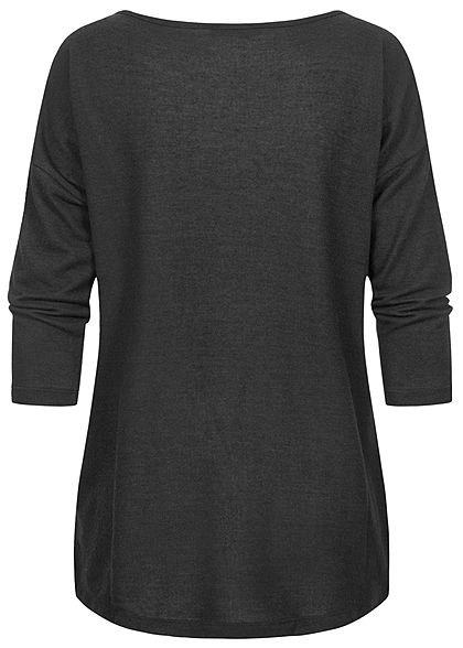 Fresh Made Dames 3/4 Longform Shirt Longsleeve zwart