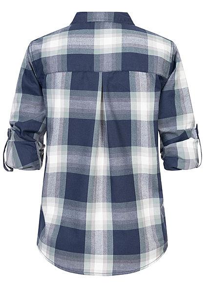 Sublevel Dames Turn-Up geruite Blouse met borstzak Regular Fit knoopsluiting donker navy blauw