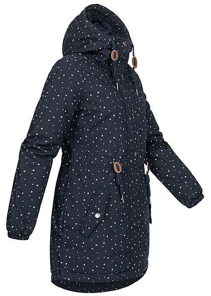 Eight2Nine Dames Winter Parka jas met Kap stippen patroon midnight blauw