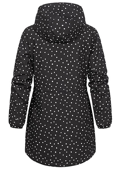 Eight2Nine Dames Winter Parka Jas met Kap stippen patroon zwart en wit