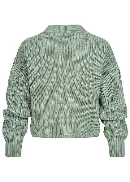 ONLY Dames V-Neck gebreide Cardigan chinois groen
