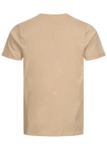 Sublevel Herren T-Shirt mit Brusttasche & Ärmelumschlag sahara sand beige