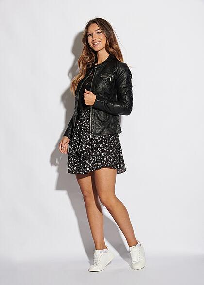 Styleboom Fashion Dames Mini Rok Bloemen Ditsy Print zwart wit