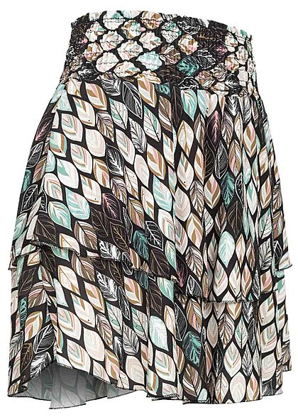 Styleboom Fashion Dames Mini Rok Blad Print zwart multicolor