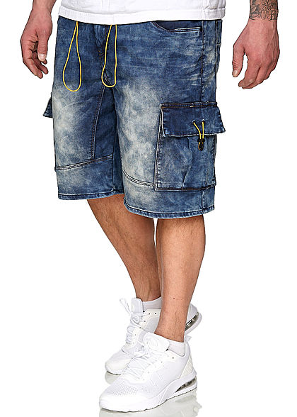 Urban Surface Heren Cargo Bermuda Jeans Shorts 7-Pockets medium blauw denim - Art.-Nr.: 21020394