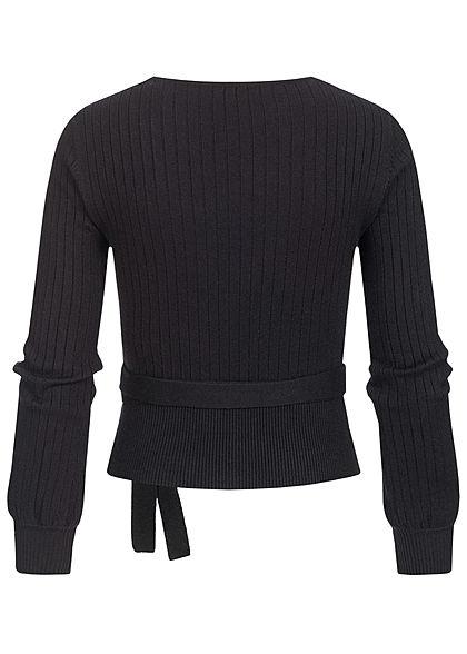 Hailys Dames V-Neck Stuctuur Sweater zwart
