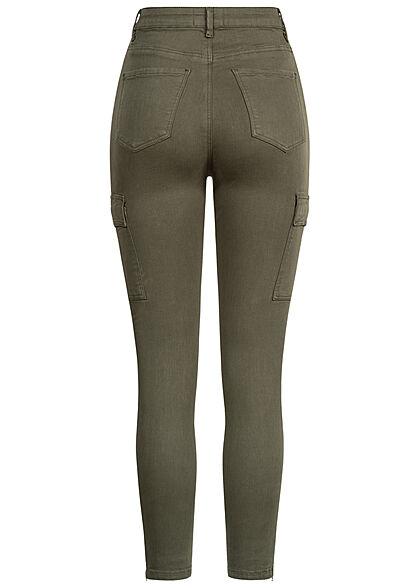 TALLY WEiJL Dames Skinny Cargo Jeans khaki groen denim