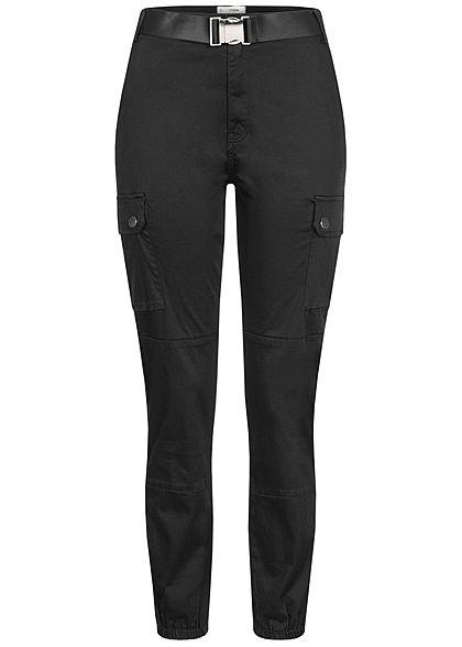 TALLY WEiJL Dames Ankle Cargo High-Waist Satin Broek 6-Pockets zwart