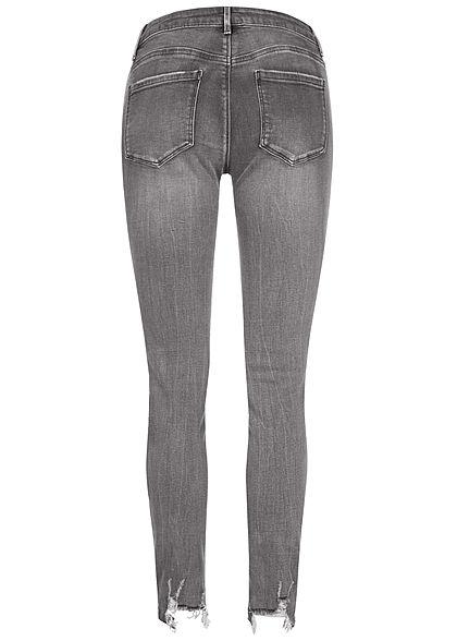 TALLY WEiJL Dames Skinny Jeans Low Waist Destroy Look washed grijs denim