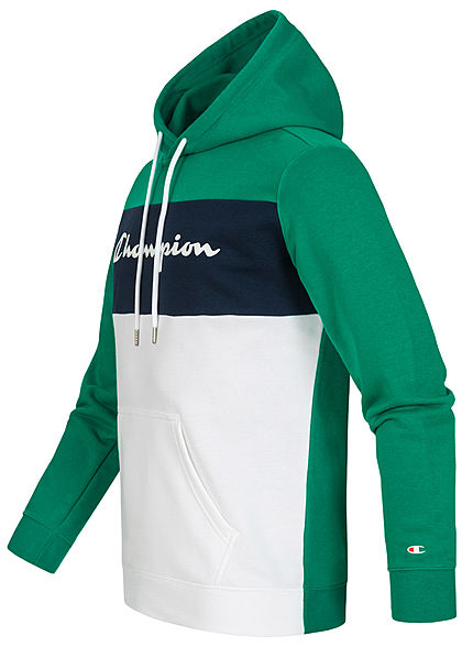 Champion Herren Colorblock Sweat Hoodie Logo Print Kapuze grün navy weiss