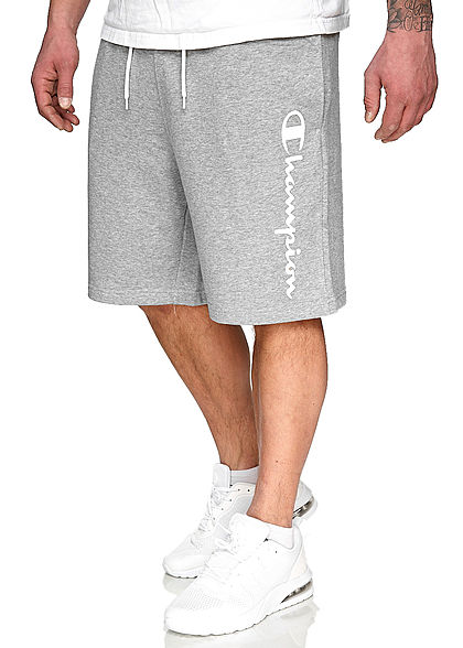 Champion Herren Sweatpants Bermuda Shorts Logo Patch seitlich 2-Pockets grau weiss - Art.-Nr.: 21020554