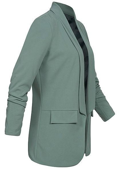 Styleboom Fashion Dames 3/4 Longform Blazer chinois groen
