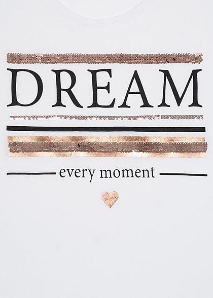 Sublevel Dames T-Shirt Dream Print wit roze