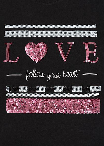 Sublevel Dames T-Shirt Love Print zwart rood wit