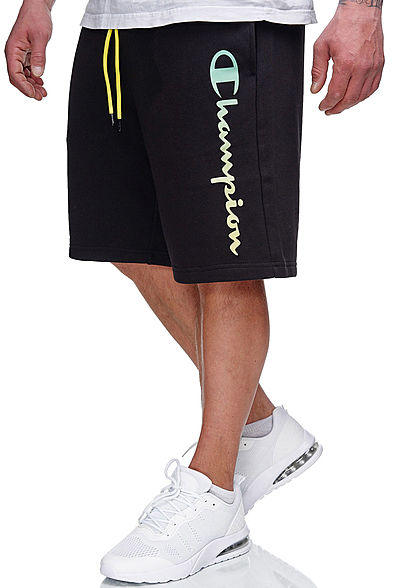 Champion Herren Sweat Shorts 2-Pockets Logo Print Tunnelzug schwarz neon grün gelb - Art.-Nr.: 21031033