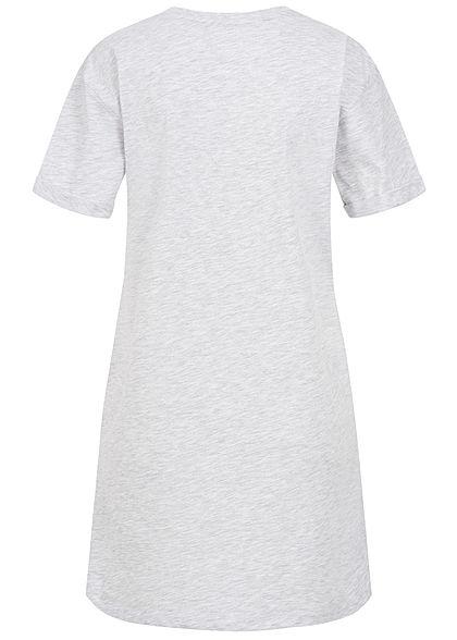Sublevel Dames Longform T-Shirt Woman Print lichtgrijs melange
