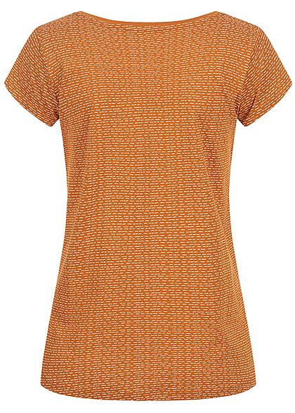 Sublevel Dames T-Shirt Dash Print toffee bruin wit