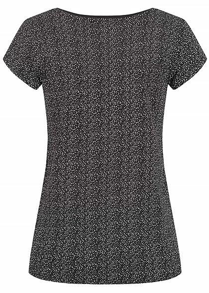 Sublevel Dames T-Shirt Drop Punten Print zwart wit