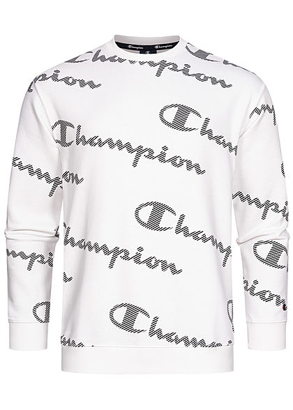 Champion Herren Sweater All Over Logo Print weiss schwarz - Art.-Nr.: 21041754