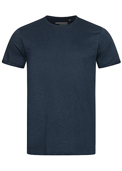 Eight2Nine Heren Basic T-Shirt navy blauw - Art.-Nr.: 21041870