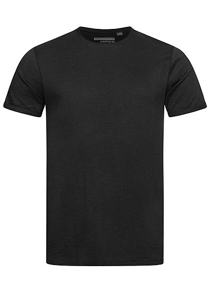 Eight2Nine Heren Basic T-Shirt zwart - Art.-Nr.: 21041871