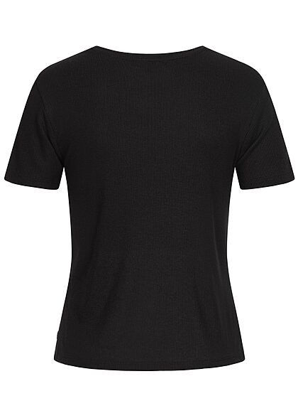 Tom Tailor Dames Ribbed T-Shirt deep zwart