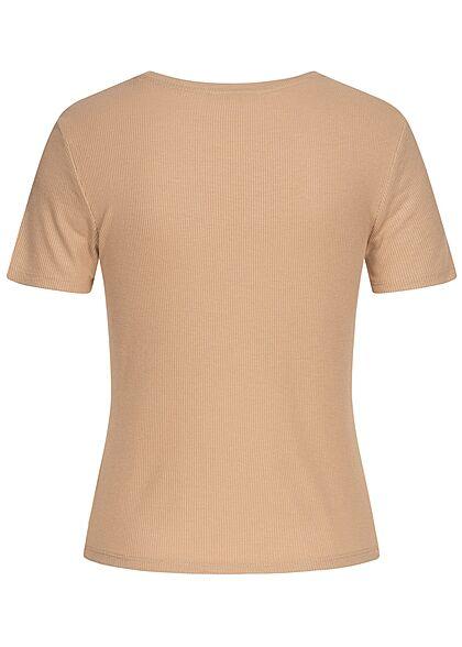 Tom Tailor Dames Ribbed T-Shirt dune beige