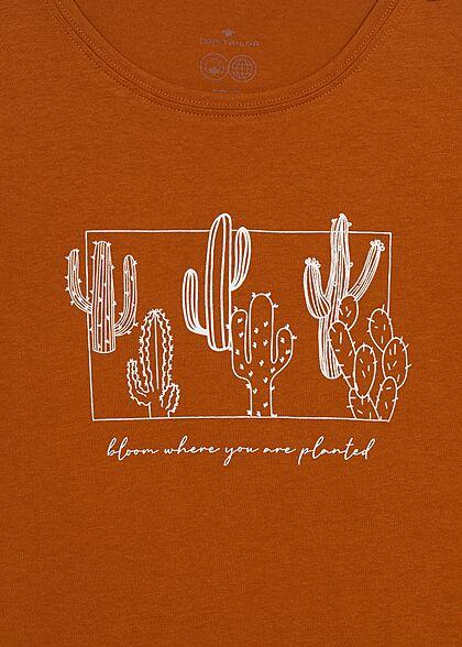 Tom Tailor Dames T-Shirt Cactus Print caramel bruin