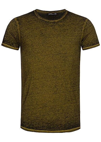 Urban Surface Heren Melange T-Shirt golden palm geel - Art.-Nr.: 21041960