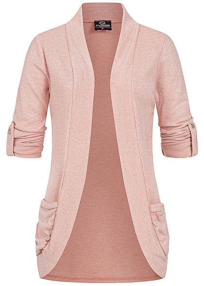 Styleboom Fashion Dames Turn-Up Cardigan 2-Pockets old roze - Art.-Nr.: 21046581