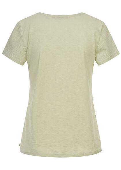 Tom Tailor Dames V-Neck T-Shirt Monkey Patch dusty licht groen
