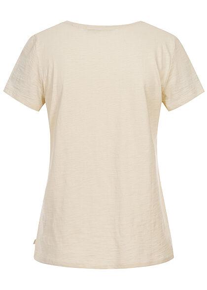Tom Tailor Dames T-Shirt Frontprint soft creme beige
