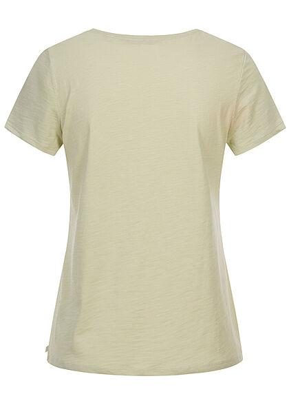 Tom Tailor Dames T-Shirt Frontprint dusty licht groen