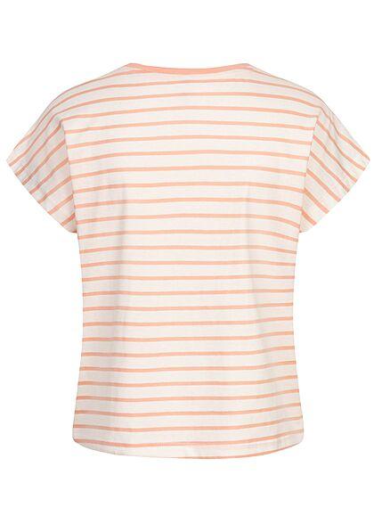 ONLY Damen Oversized T-Shirt Streifen Muster cloud dancer weiss peach melba