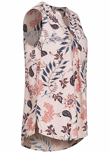 Tom Tailor Damen V-Neck Blusen Top Paisley Blumen Print weiss