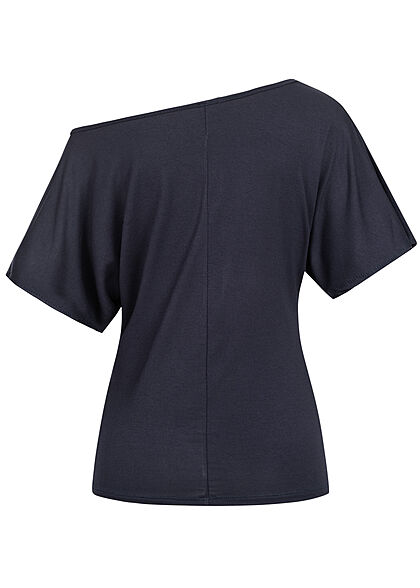 Styleboom Fashion Damen One-Shoulder Viskose Shirt Anker Print navy blau weiss