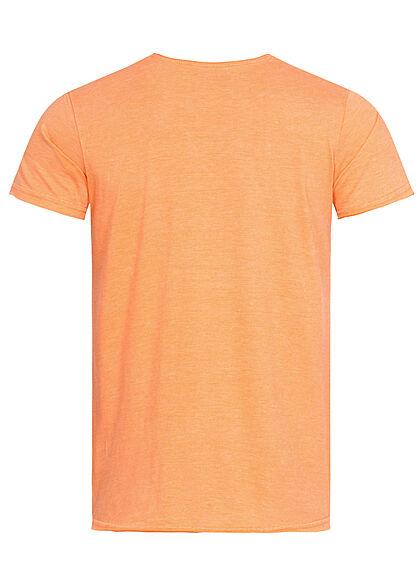 Stitch & Soul Herren T-Shirt Summer Times Palmen Print melon orange