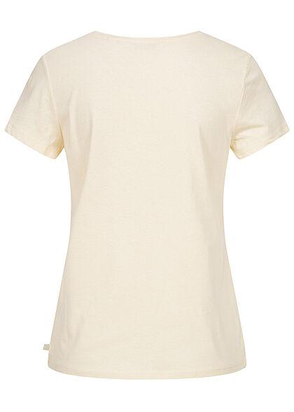 Tom Tailor Dames V-Neck T-Shirt Mini Summer Print soft creme beige
