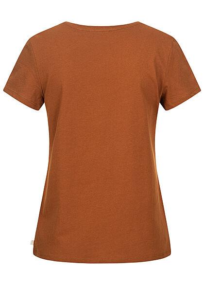 Tom Tailor Dames V-Neck T-Shirt Mini Summer Print amber bruin